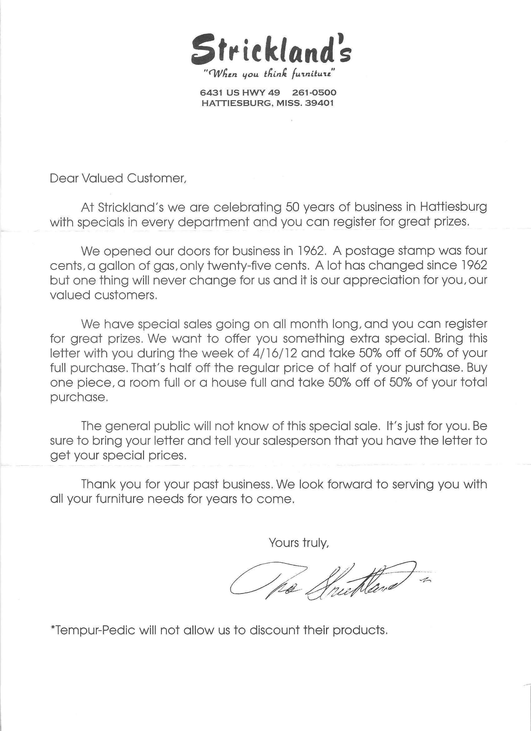 StrickLand's Letter